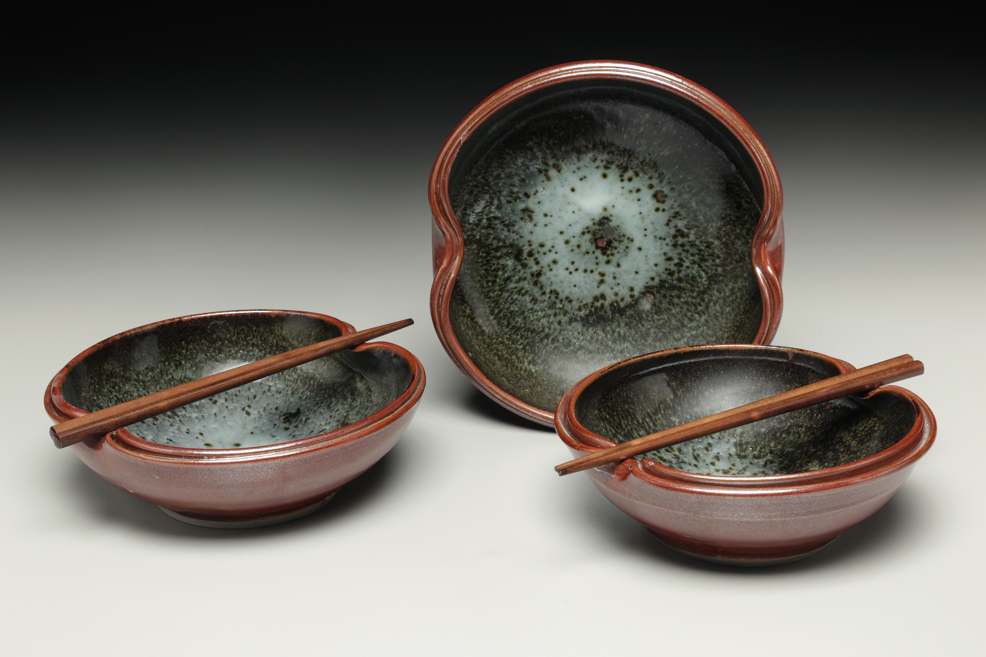 Chopstix Bowls, Starry Night glaze, Lori Theriault