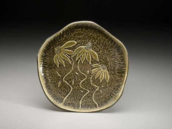 Carved Coneflower Platter, Lori Theriault