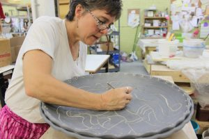 The Village Potters, Melanie Mitchell Robertson, Raku Artist, Art Educator