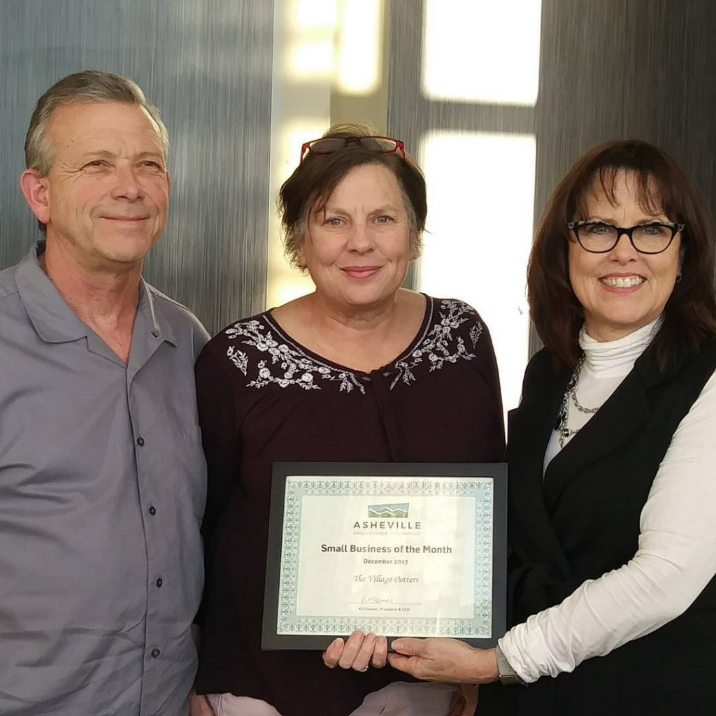 the village potters, asheville, nc, river arts district, small business of the month, sarah wells rolland, george rolland, asheville chamber of commerce, visitors bureau