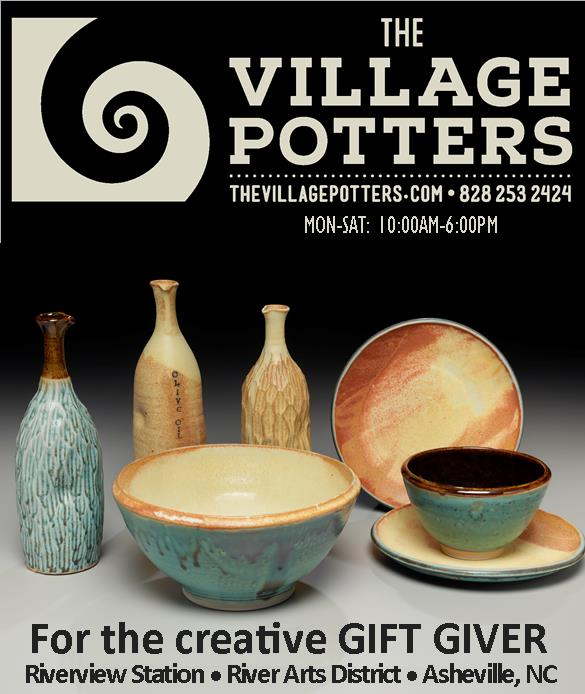 the vilage potters, asheville, nc, pottery, ceramics, raku, sculpture, gifts, gift certificates, pottery classes