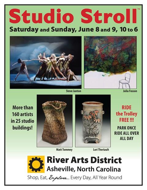 the village potters, river arts district, june, studio stroll, pottery, ceramics, gallery, studios, demonstration