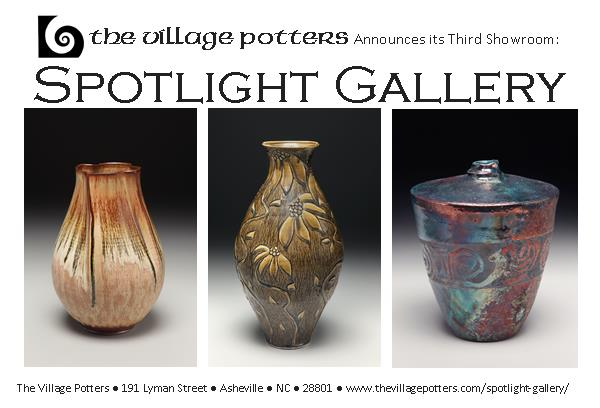 the village potters, asheville, nc, ceramics, pottery, spotlight gallery, new showroom, new gallery, sarah wells rolland, bernie segal, jennie buckner