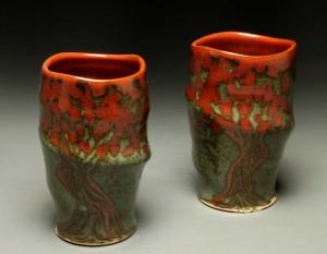the village potters, asheville, nc, pottery, ceramics, raku, gifts, sale