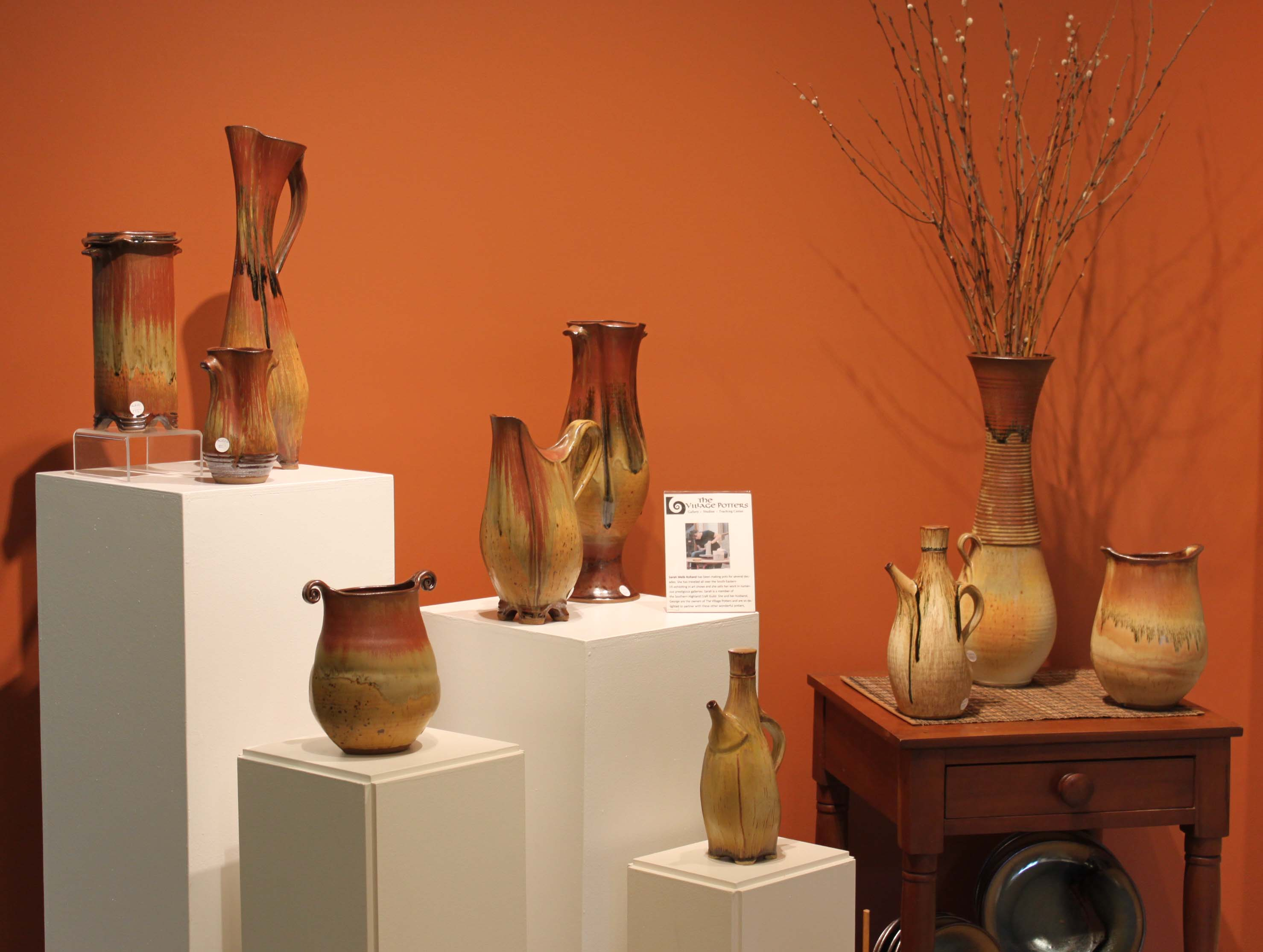 the village potters, asheville, nc, pottery, ceramics, raku, gallery, feature gallery, sarah wells rolland, judi harwood