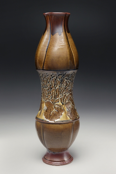 Collaboration with Sarah Wells Rolland: Tall Vase (SWR) with Relief-Carved Porcelain Slip (LT)