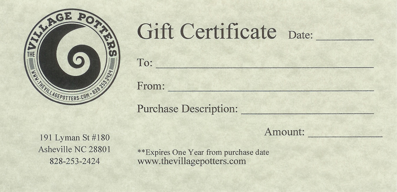 Gift Certificate For Create Your Own Workshop The Village Potters