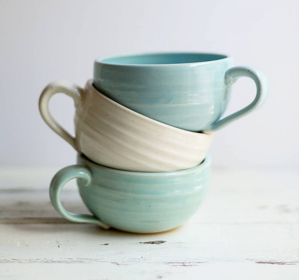 the village potters, asheville, nc, pottery, studio, apprentice, tori motyl, mugs