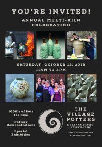 the village potters clay center, asheville, nc, pottery, ceramics, asheville potters, multi kiln opening celebration, pottery sale, demonstrations, raku, hand building, prizes