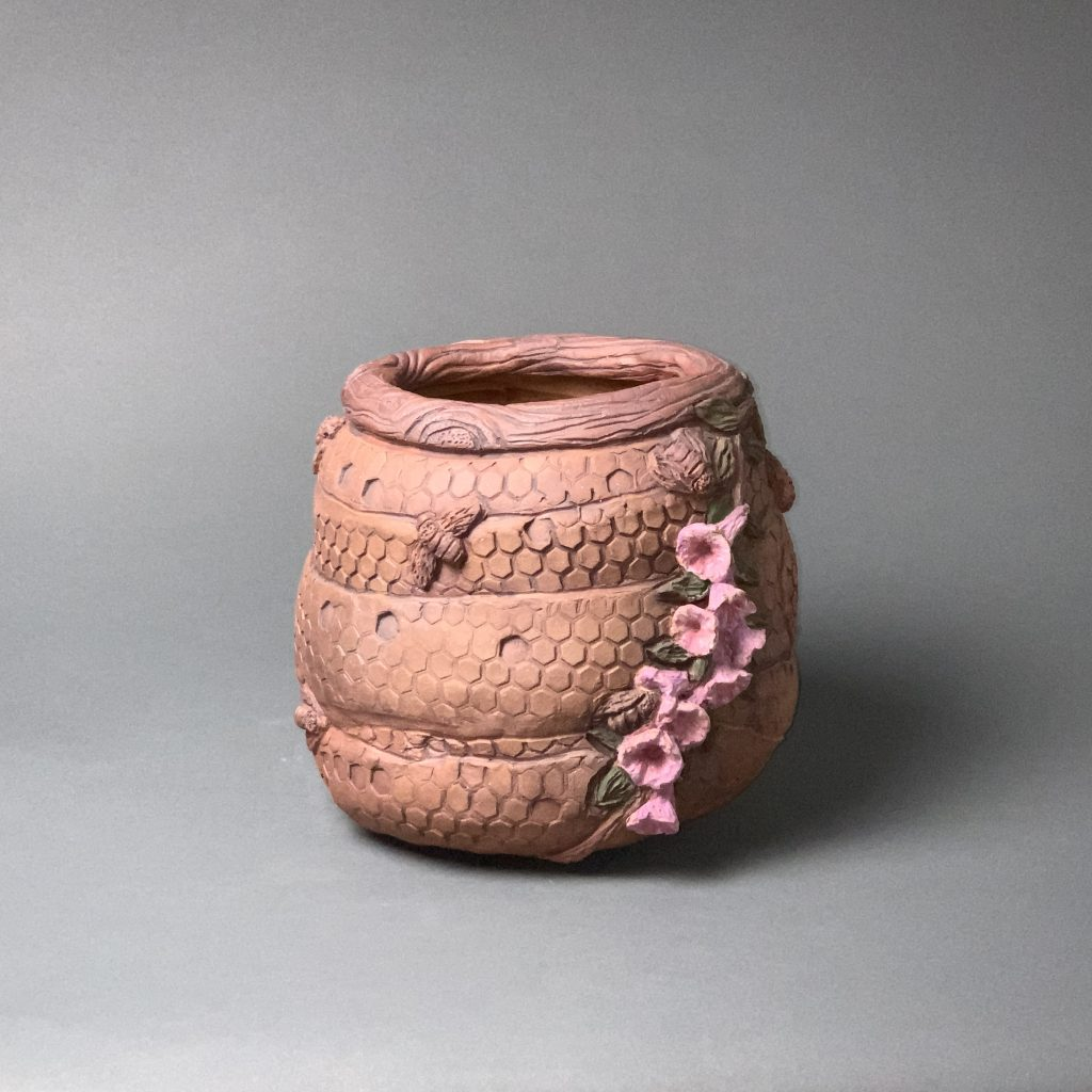 the village potters clay center, asheville nc, pottery, ceramics, hand built pottery, christine henry, bees, honeycomb
