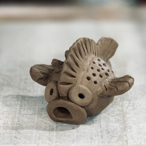 the village potters, the village potters clay center, clay class for kids, puffer fish, megan wolfe, virtual learning, online class
