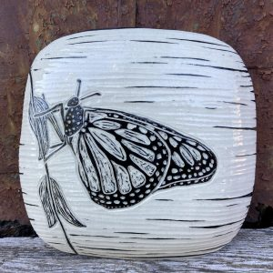the village potters clay center, asheville, nc, pottery, hand built pottery, wall piece sgraffito, hanging tile, butterfly, christine henry