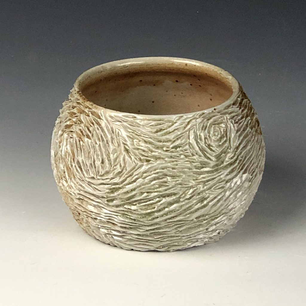 the village potters, asheville, nc, wheel thrown pottery, wood ash kiln, kazegama, carving in clay, lori theriault