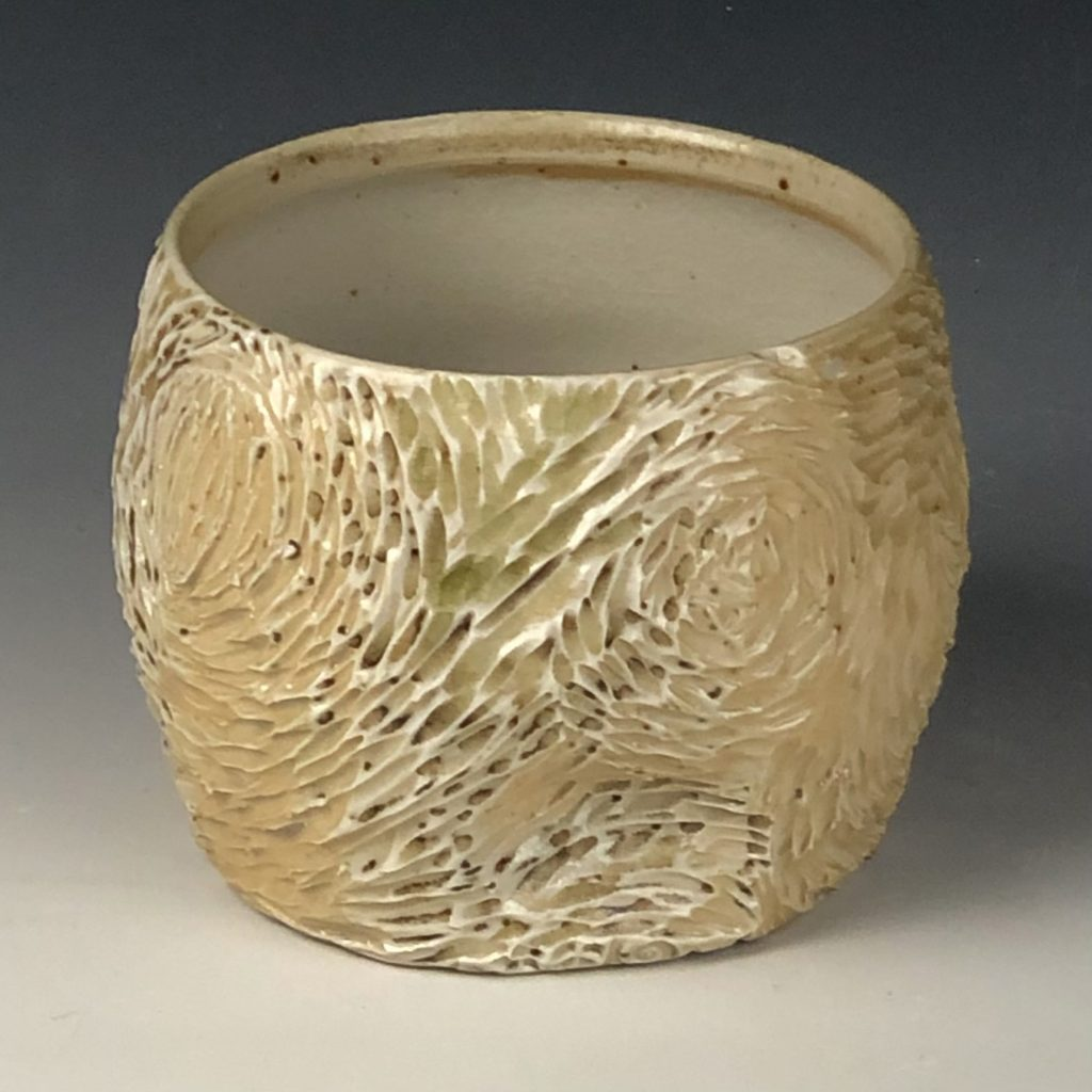 the village potters, asheville, nc, lori theriault, kazegama kiln, wood ash kiln, carving in clay