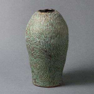 the village potters, asheville, nc, pottery, wheel thrown pottery, vincent series, carving in clay, lori theriault