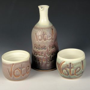 the village potters clay center, asheville, nc, lori theriault, wheel thrown pottery, functional pottery, vote