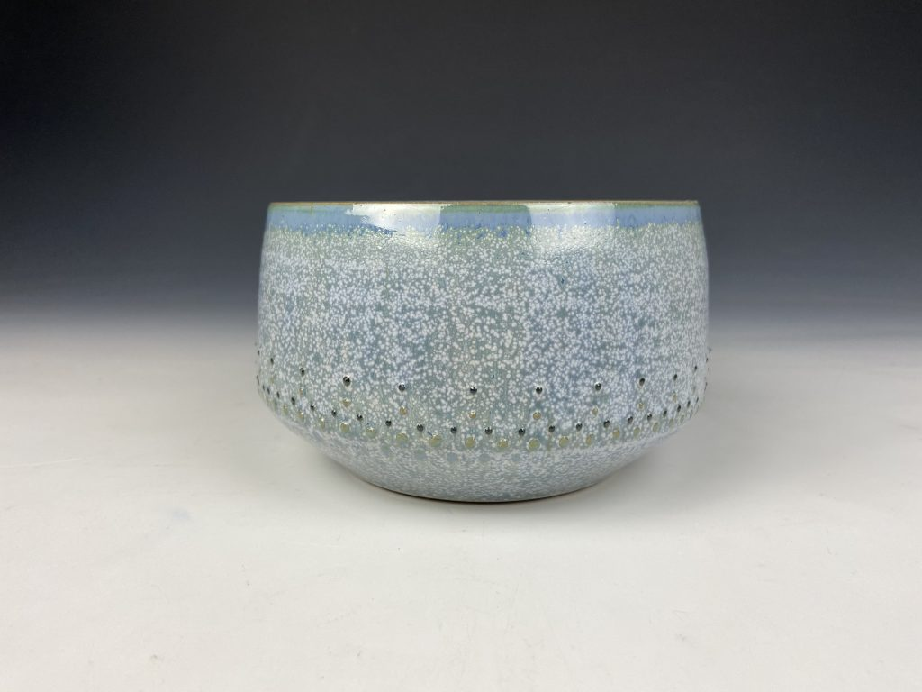 the village potters clay center, pottery, ceramics, wheel thrown pottery, bowls, dot pots, katie meili messersmith