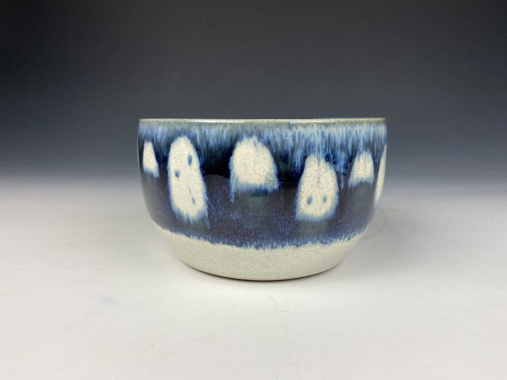 the village potters clay center, asheville nc, pottery, ceramics, bowls, wax resist, cereal bowl, katie meili messersmith