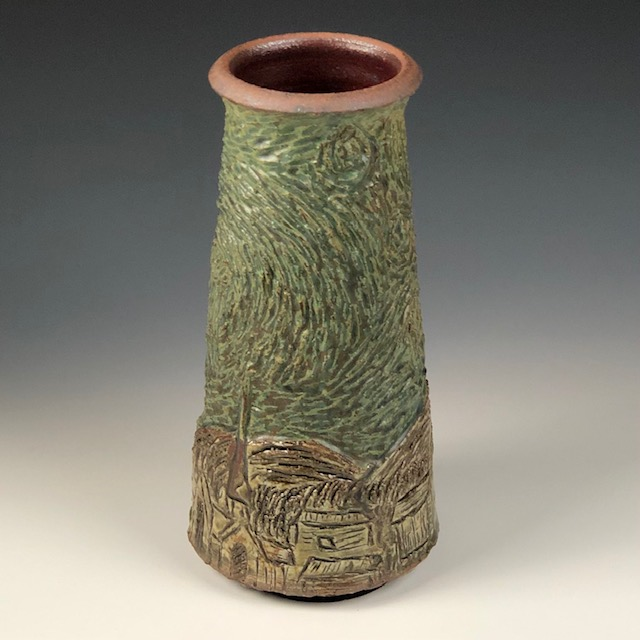 the village potters clay center, asheville nc, pottery, ceramics, wheel thrown pottery, carving in clay, vincent series, lori theriault